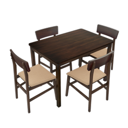 Wooden Brown 4 Seater Dining Table