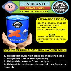 250 Kg Orange Sponge Lacquer Polish