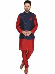 Dupion Art Silk Party Wear Men Kurta Pajama and Jacket, Machine wash