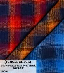Tencel Check 100% Cotton Yarn Dyed Checks Shirting Fabric