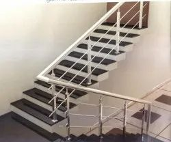 Stairs SS Silver Staircase Pipe Railing, For Home