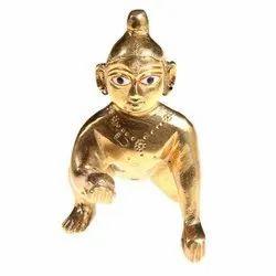 Nirmala Handicrafst Brass Gold Finish Laddu Gopal Statue For Temple And Worship