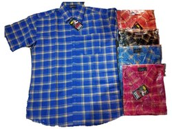 Collar Neck Mens Casual Cotton Check Shirt, Machine wash