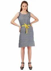 Cotton Grey Handloom Ikat Dress -S