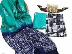 Green And Blue Regular Wear Printed Cotton Unstitched Salwar Suit, Handwash