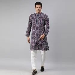 Janasya Men's Blue Cotton Kurta(MEN5018)