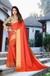 Ofline Selection Party Wear Ladies Orange Vichitra Silk Saree, 6.3 m (with blouse piece)