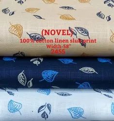 Novel 100% Cotton Linen Slub Print Shirting Fabric