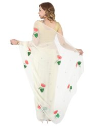 Pearl White Net Designer Saree