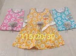 Cotton Regular Wear Kids Sleeveless Floral Printed Frock, Size: 20