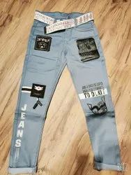 Party Wear Stretchable Kids Blue Cotton Dusty Jeans, Size: 34, Dry clean