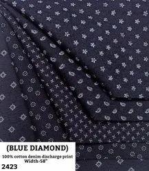 Blue Diamond 100% Cotton Denim Discharge Print Shirting Fabric