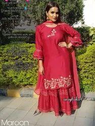Rayon Kurti Skirt With Embroidery Work, Size: Free