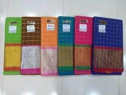 Handloom Sungudi Annam Checks Silver Zari Checks Mangalgiri Saree With Blouse
