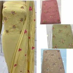 Heavy Hand Embroidery Unstitched Suit.