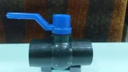 PP Solid Ball Valve Long Handle MS Plate