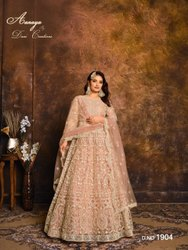 Ladies Net Designer Heavy Work Long Gown Party Wear Anarkali Suit