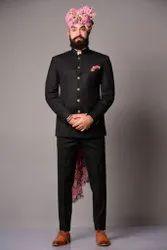 Party Plain Black Designer Bandhgala Jodhpuri Suit, Size: Large