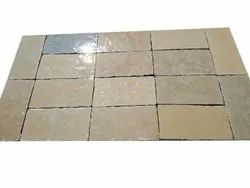 Yellow Half Honed Tumbled Brushed Stone, Tile, Thickness: 2 mm