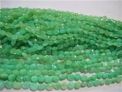 18 Natural Chrysoprase Faceted Oval Stone Bead Strands