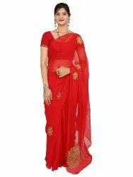 Saarvi Party Wear Red Embroidered Saree, 6.3 m (with blouse piece)