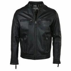 Full Sleeve Casual Jackets Mens Leather Jacket black, Size: Large