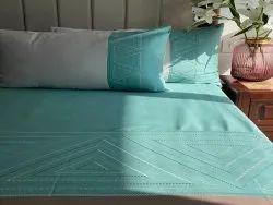 Chevron Turquoise Grey Embroidered Bedsheet