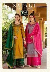 Kessi Safari Premium Jam Silk With Embroidery Work Dress Material Catalog