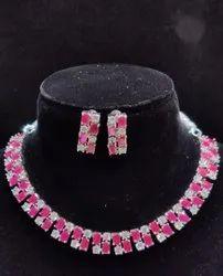 Round Party Wear Ladies Artificial Brass Necklace Set, Weight: 55 Gram