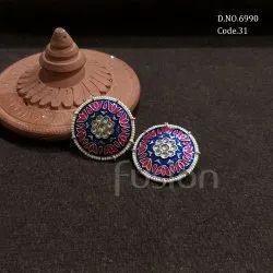Fusion Arts Meenakari Stud Earrings