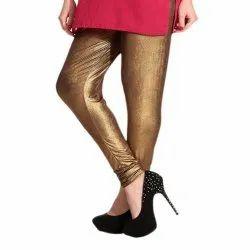 Churidar Plain Ladies Golden Lycra Leggings