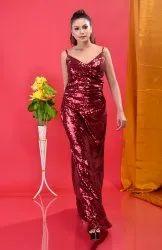 Ladies Maroon Sequin Dresses