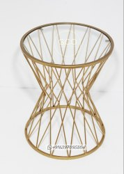 GCO GOLD Wrought Iron Coffee Table, Round, Size: 16X16X21