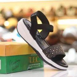 Black TFC Embroidered Ladies Sandal, Size: 6 Ind
