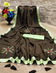 Embroidered Emdroidered Dola Silk Saree