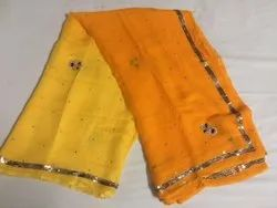 Orange and Yellow Party Wear Chiffon Shaded Hand Work Embroidered Saree, 6 m (with blouse piece)