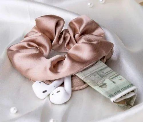 hair accessory handmade scrunchie Soft hair tie bridesmaid hair tie Cute accessories gifts idea Silk hair tie Blue Satin Scrunchie