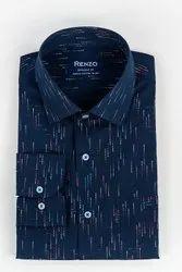 Cotton Collar Neck Renzo Navy Blue Printed Shirt, Size: 38