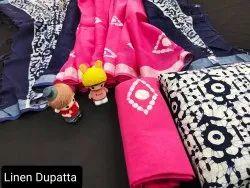 Cotton Suit With Lilen Dupatta