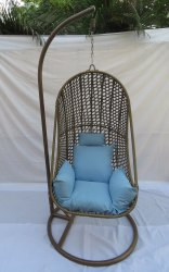 Hanging Swing Single Seater, GC-143, Shine Golden Line, Sky Blue  Cushion