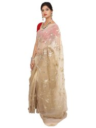 Saarvi Jaal work Designer Net Party Wear Saree, Without blouse piece, 5.5 m (separate blouse piece)