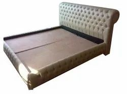 White Wooden 6X6.5 Feet Upholstery Double Bed, For Home