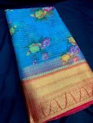Designer Border Digital Printed Organza Fabric, Width: 44 Inch