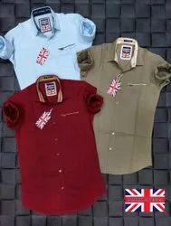 Regular Wear Collar Neck Cotton Plain Shirt, Machine wash