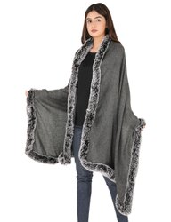 Pure Merino Wool Stoles With Faux Fur