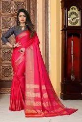 Ofline Selection Festive Wear Gulmohar Pink Silk Saree, 6.3 m (with blouse piece)