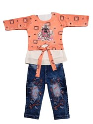 Girl Kids Peach Top Jeans Set