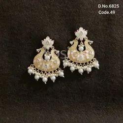 Fusion Arts Handmade Meenakari Chandbali Earrings