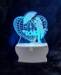 SHAYONA 3D Illusion LED Multicolor Acrylic Love Couple Umbrella Night Lamp