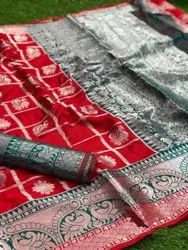 Weaving Red Ladies Wedding Wear Silk Saree, Dry clean, Saree Length: 5.5 m (separate blouse piece)